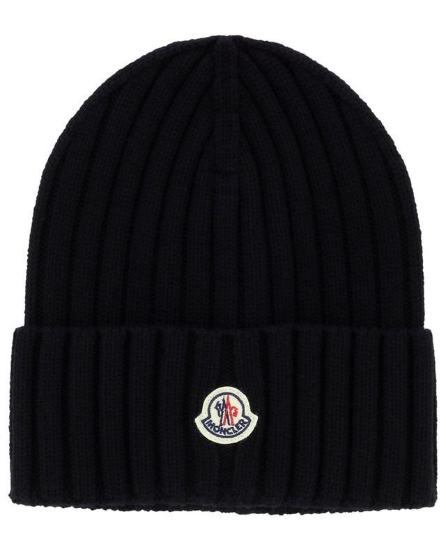 Bonnet en maille de laine vierge côtelée logo coq MONCLER