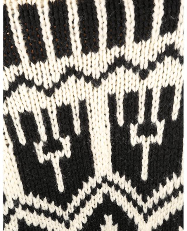 Pull jacquard à col roulé en laine MONCLER