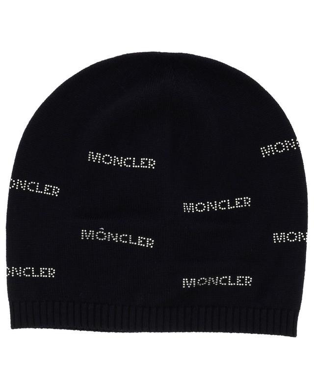 Bonnet en laine fine embelli de logos en strass MONCLER