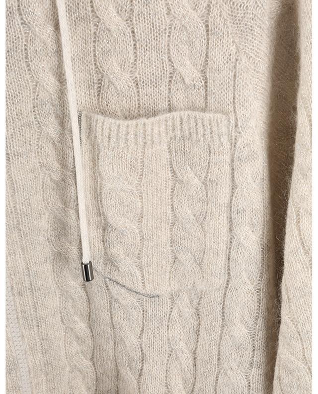 Cardigan à capuche en maille torsadée Shiny Shadow Pocket BRUNELLO CUCINELLI