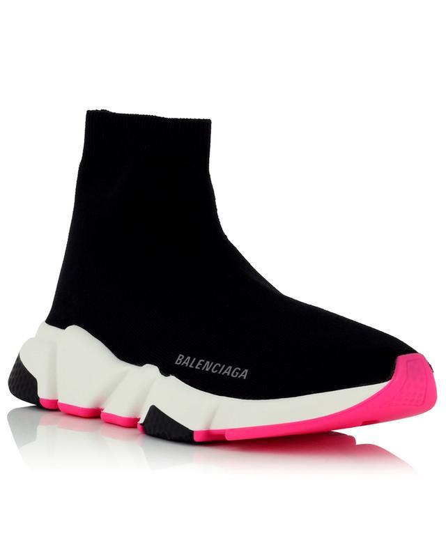 Baskets chaussette à semelles blanches, noires et fuchsia Speed LT BALENCIAGA