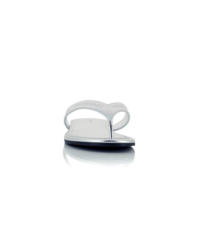 Tongs en cuir métallisé gravé logo Flip Flop BALENCIAGA