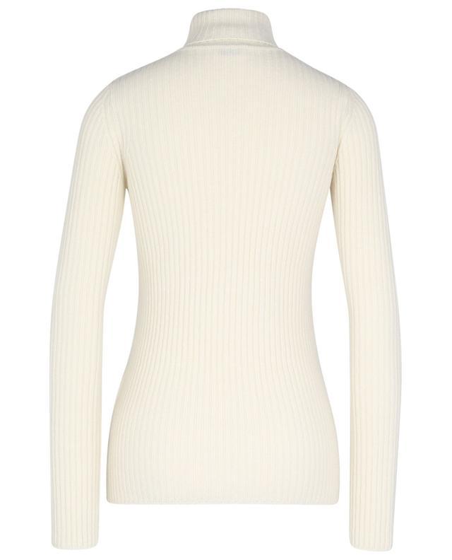 Pull côtelé en laine et cachemire à col roulé monogrammé SAINT LAURENT PARIS