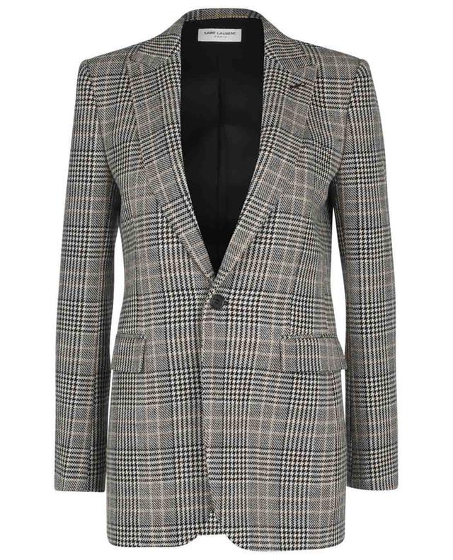 Blazer à boutonnage simple en laine motif prince-de-galles SAINT LAURENT PARIS