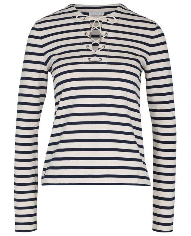 T-shirt à manches longues rayé à laçage SAINT LAURENT PARIS