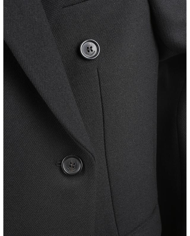 Blazer à boutonnage double en sergé de laine et velours SAINT LAURENT PARIS