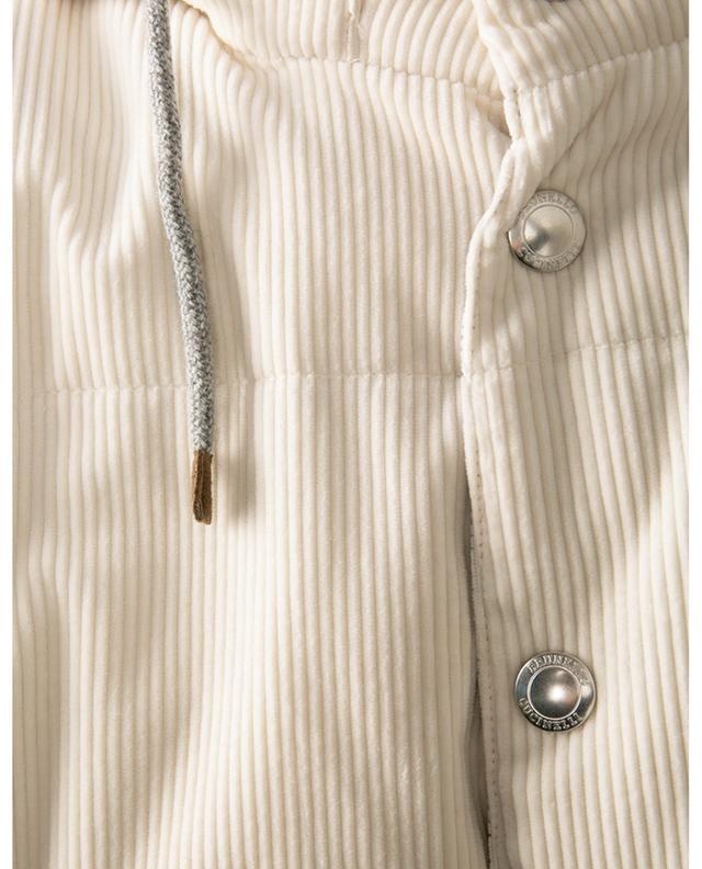Gilet matelassé en velours côtelé garnie de duvet à capuche BRUNELLO CUCINELLI