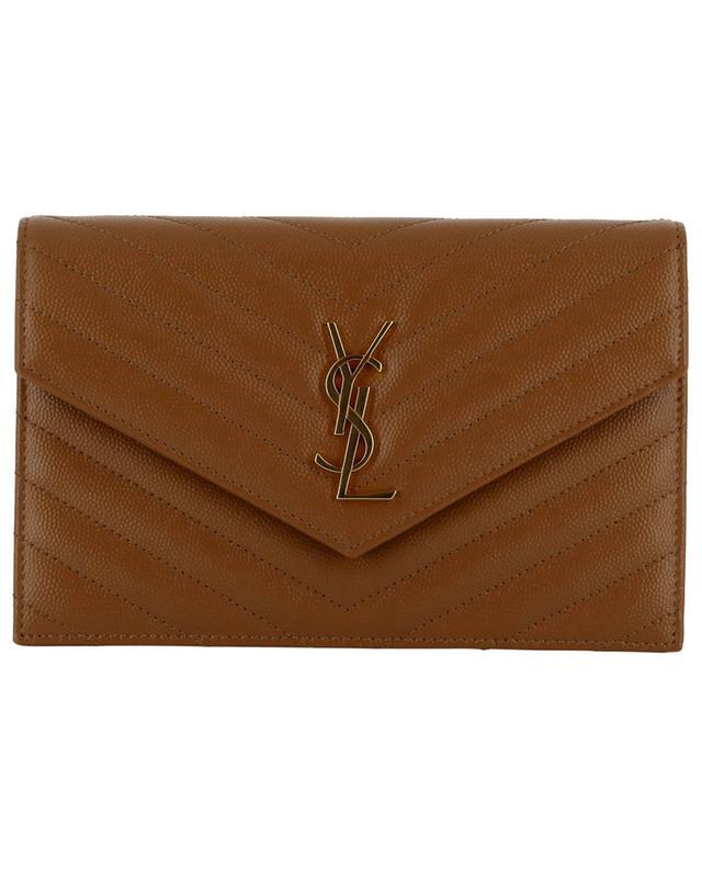 Sac porté épaule en cuir grain de poudre Envelope Chain Wallet SAINT LAURENT PARIS