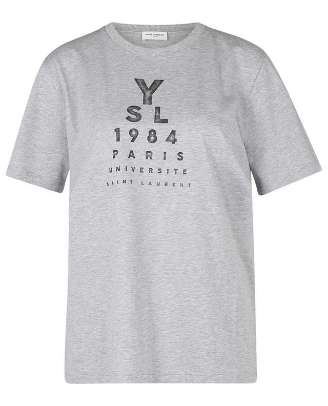 T-shirt chiné à manches courtes imprimé YSL 1984 SAINT LAURENT PARIS