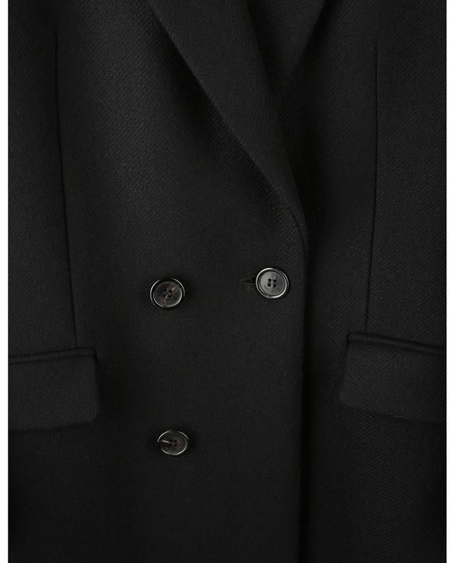 Manteau long à boutonnage double en gabardine et velours SAINT LAURENT PARIS
