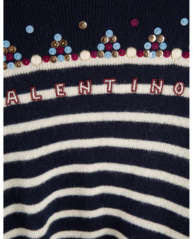 Pull marinière brodé de sequins et perles VALENTINO