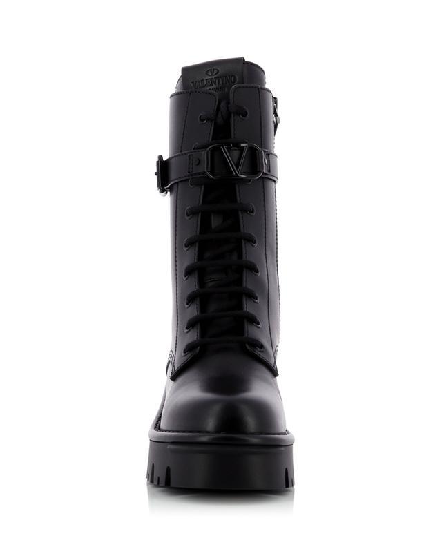 Bottines à lacets en cuir lisse VLogo Combat Boots 50/30 VALENTINO