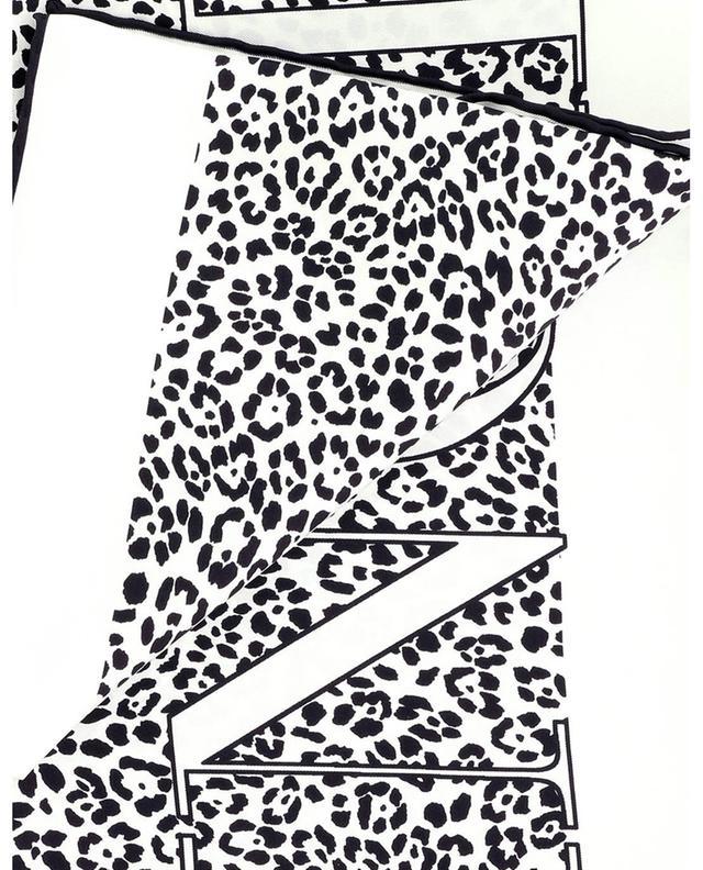 Foulard carré en sergé de soie imprimé leopard et logo VALENTINO