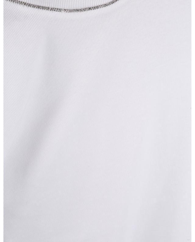 T-shirt ajusté en coton côtelé Shiny Collar BRUNELLO CUCINELLI