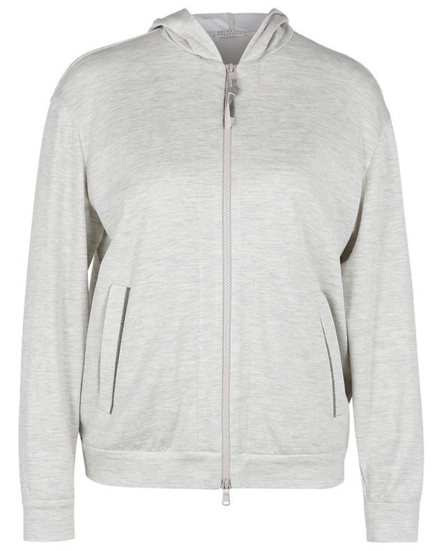 Sweat-shirt zippé à capuche en jersey interlock à Monile BRUNELLO CUCINELLI