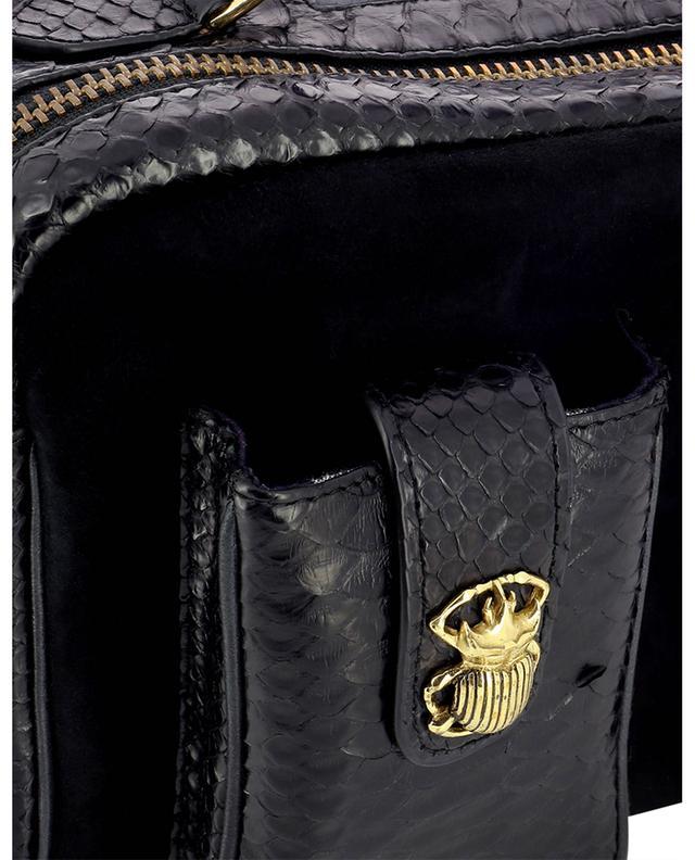Sac porté croisé en daim et cuir de python César CLARIS VIROT