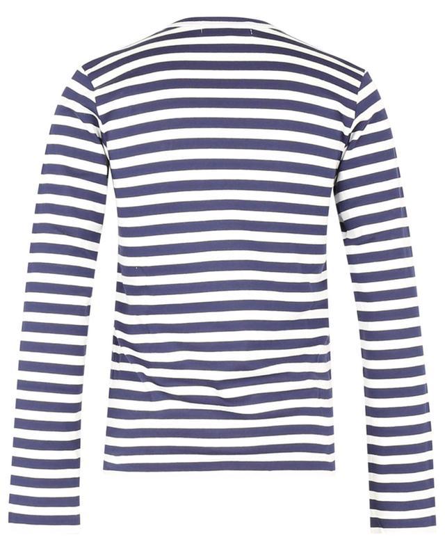 T-shirt marinière à manches longues brodé coeur rouge COMME DES GARCONS PLAY