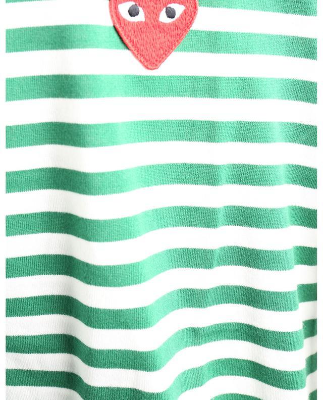 T-shirt rayé à manches longues brodé coeur rouge COMME DES GARCONS PLAY