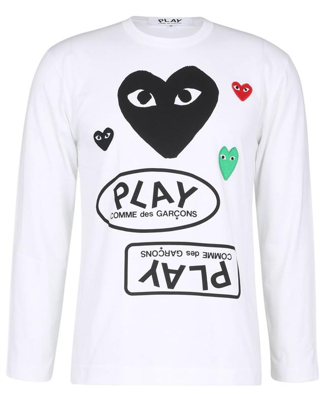 T-shirt à manches longues imprimé coeur et brodé patch coeur COMME DES GARCONS PLAY