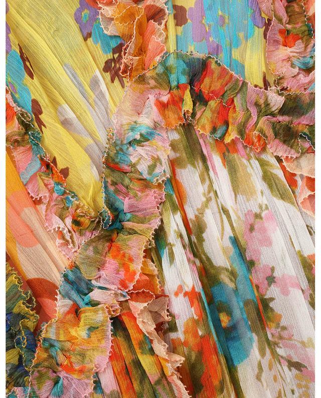 Robe midi en soie imprimée patchwork Estelle Billow ZIMMERMANN