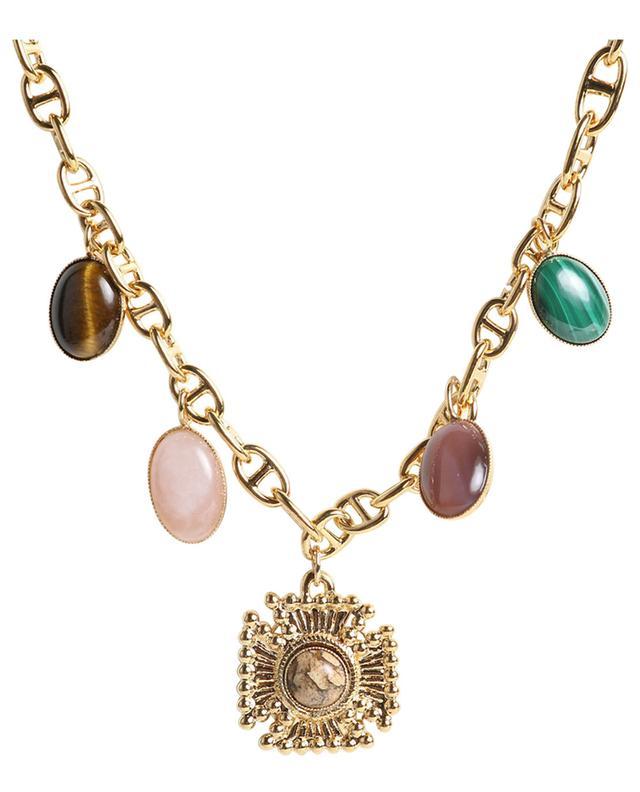 Collier doré pierres multicolores croix Riva DEAR CHARLOTTE