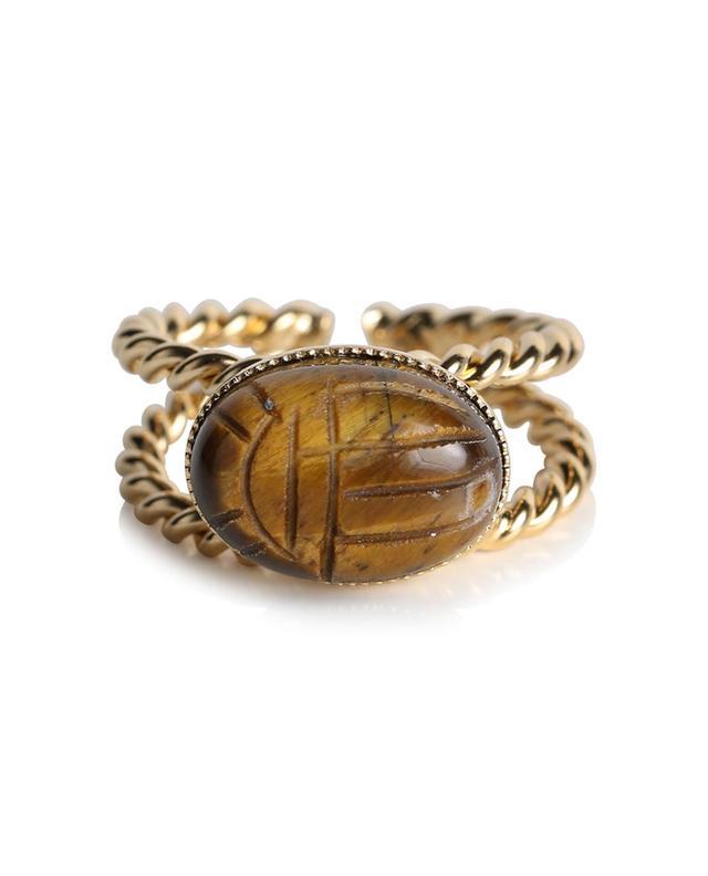 Bague dorée oeil de tigre scarabée Riva DEAR CHARLOTTE