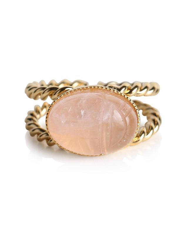 Bague dorée quartz rose scarabée Riva DEAR CHARLOTTE