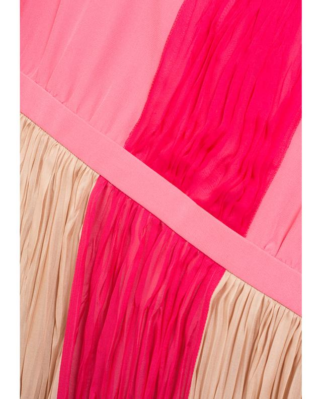 Agnona robe plissée en soie rose A27397-ROSE