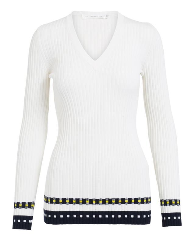 Victoria beckham pull côtelé en laine mélangée blanc A27968-BLAN