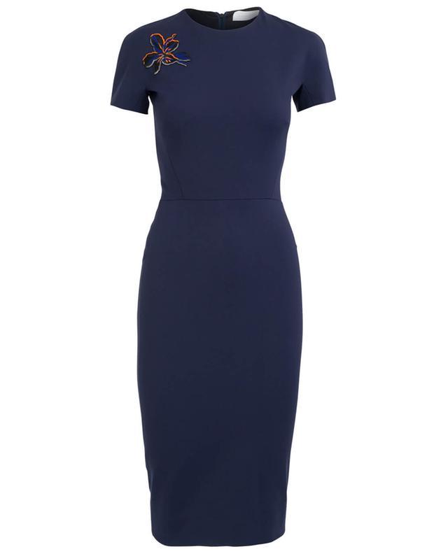 Victoria beckham robe midi à manches courtes marine A27970-BLEUF