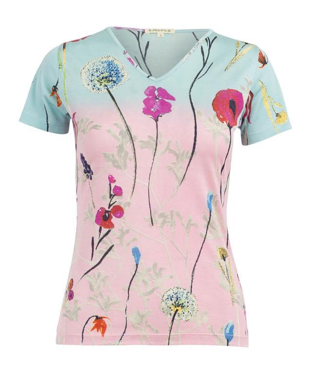 Pashma t-shirt en soie à imprimé fleuri multicolore1 A27990-MULT