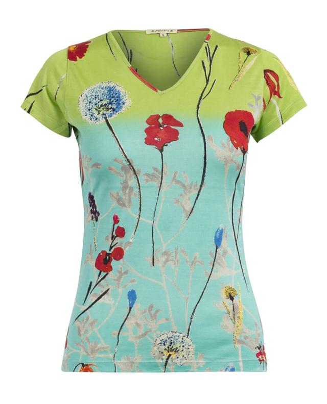 Pashma t-shirt en soie à imprimé fleuri multicolore1 A27990-MULT1