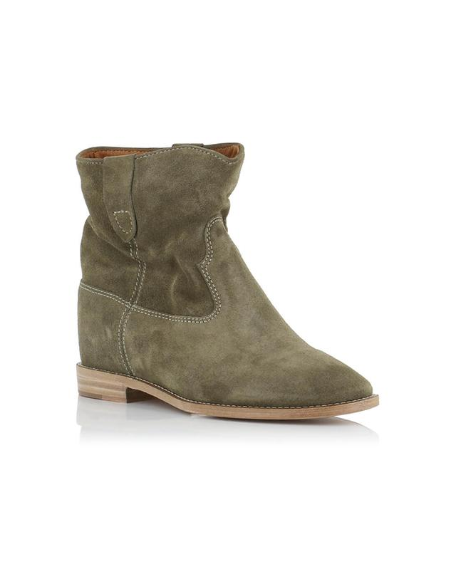 Isabel marant crisi suede wedge ankle boots beige a28002