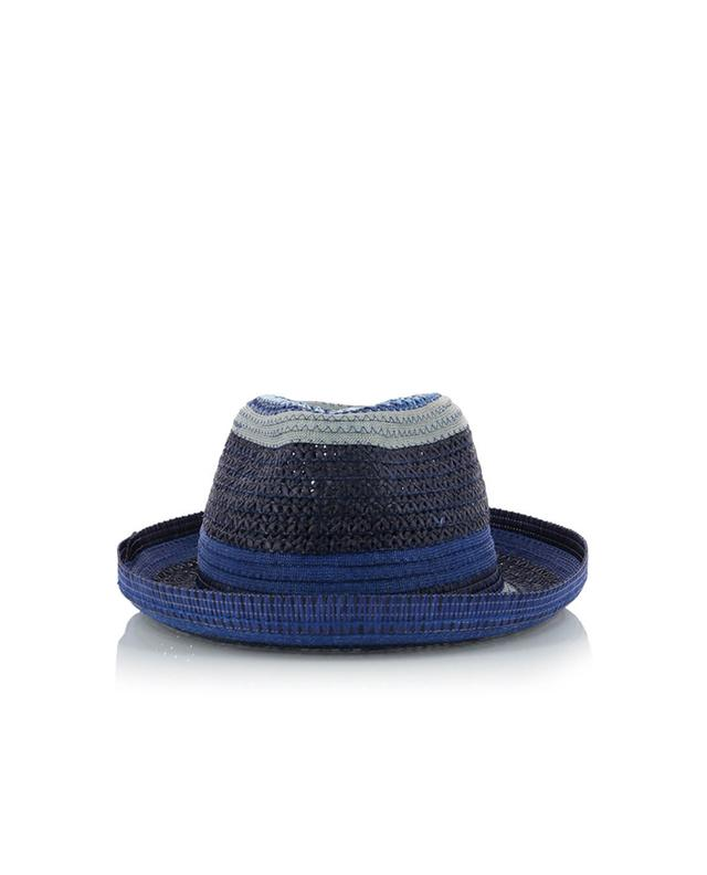 Etro straw panama hat blue A28095-BLEU