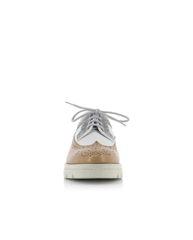 Santoni derbies en cuir tricolore beige A28404-GRIS