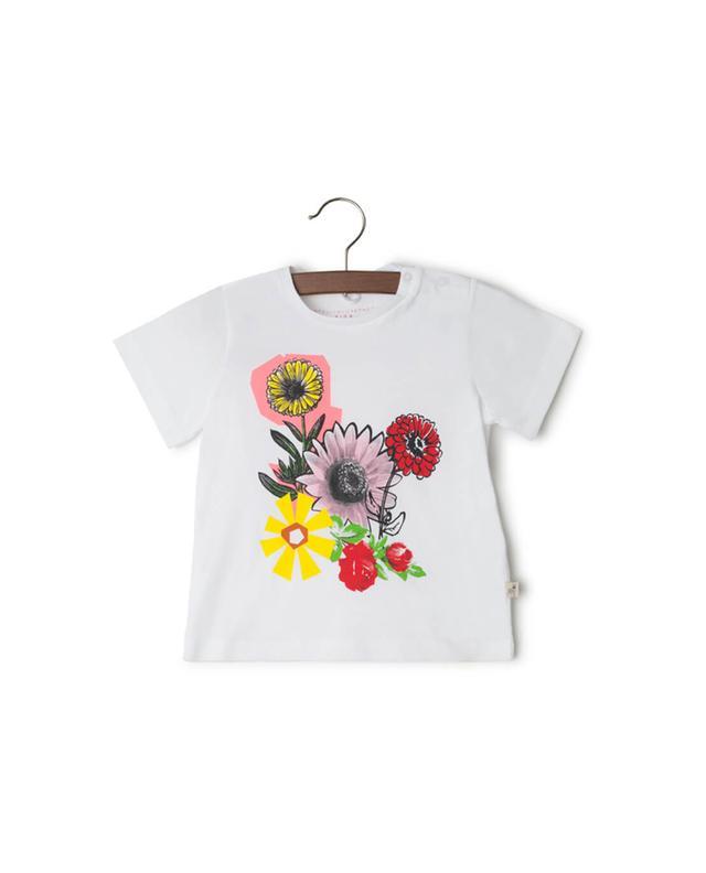 Stella mccartney t-shirt aus baumwolle mit blumenprint weiss