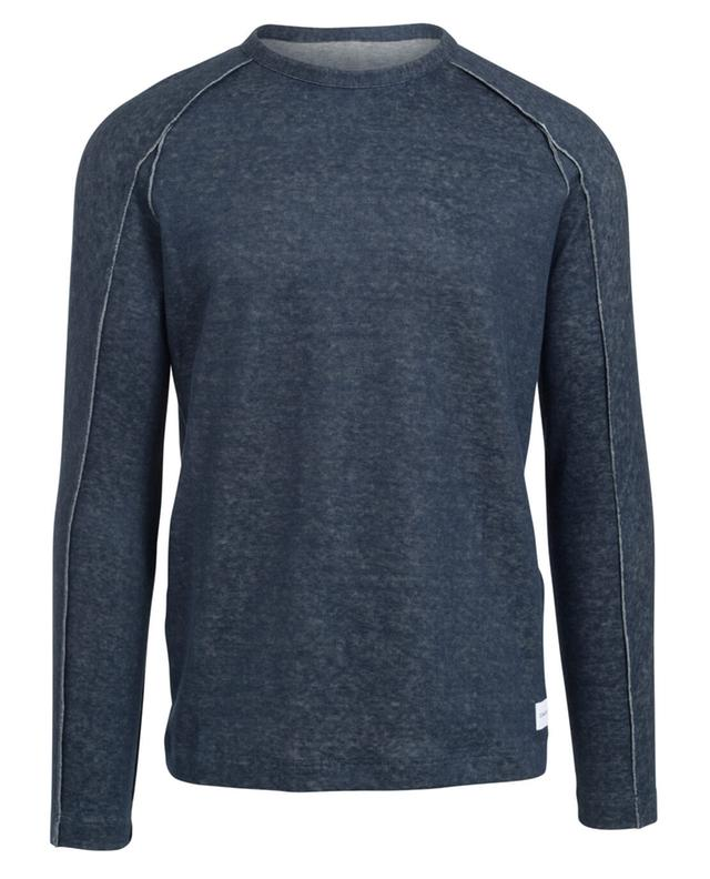 Dondup sweatshirt aus baumwolle und leinen marineblau a30710