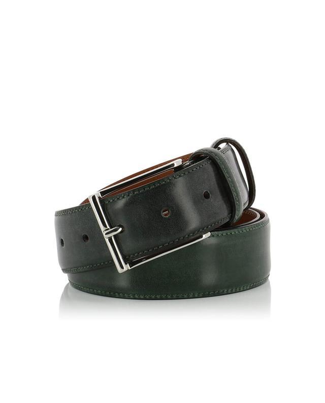 Santoni ceinture en cuir lisse vert a31041
