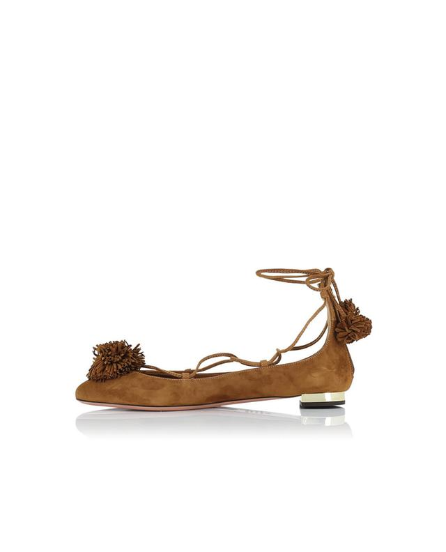 Aquazzura ballerinas mit spitzer kappe und schnürung aus wildleder cognac A31613-COGN