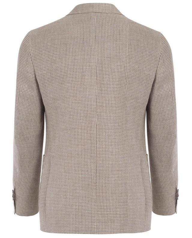 Napoli couture blazer en lin soie et coton beige A32081-BEIG