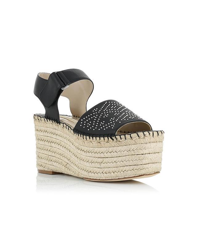 Paloma barcelo sandales compensées en corde et cuir gabrielle noir A32316-NOIR