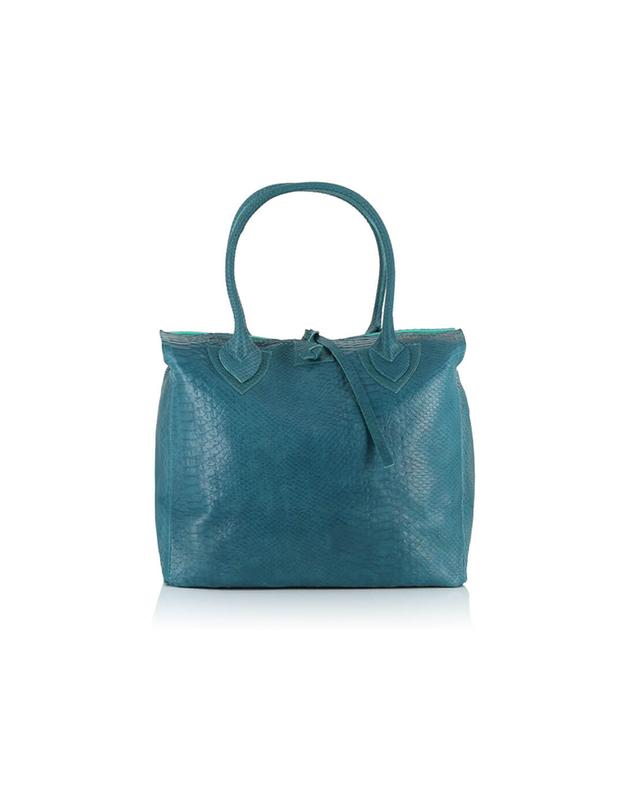 Let&her textured leather bag blue a32366