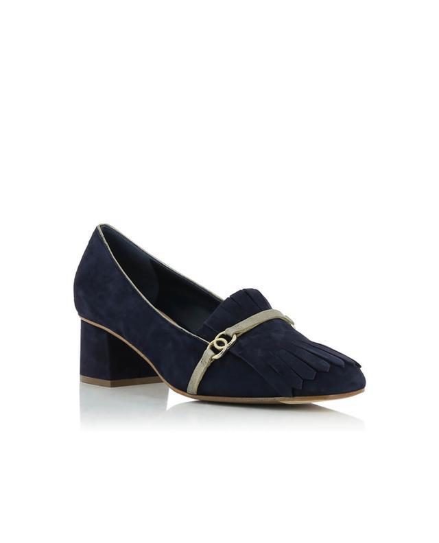 Bon genie grieder suede heeled loafers black A32451-BLEUF