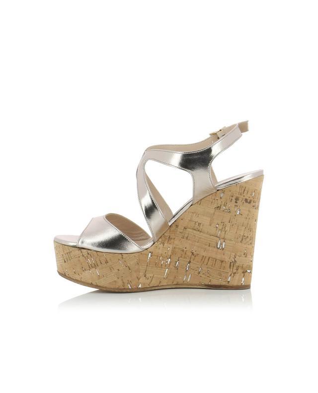 Bon genie grieder sandales compensées en cuir dore A32505-DORE