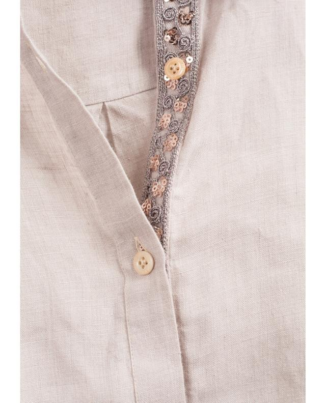 Aglini chemise longue en lin liana beige A35387-BEIG