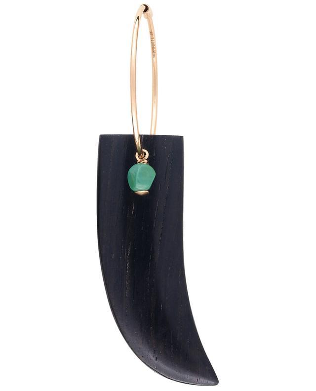 Croix du Sud turquoise and ebene horn mono earring GINETTE NY