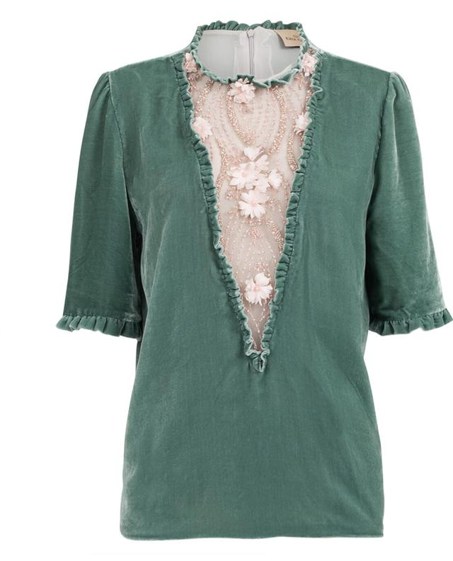 Aphrodite velvet and embroidered tulle top EZGI CINAR