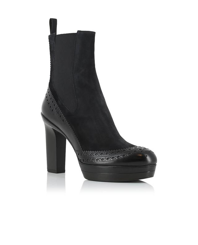 Leather and suede heeled ankle boots SANTONI