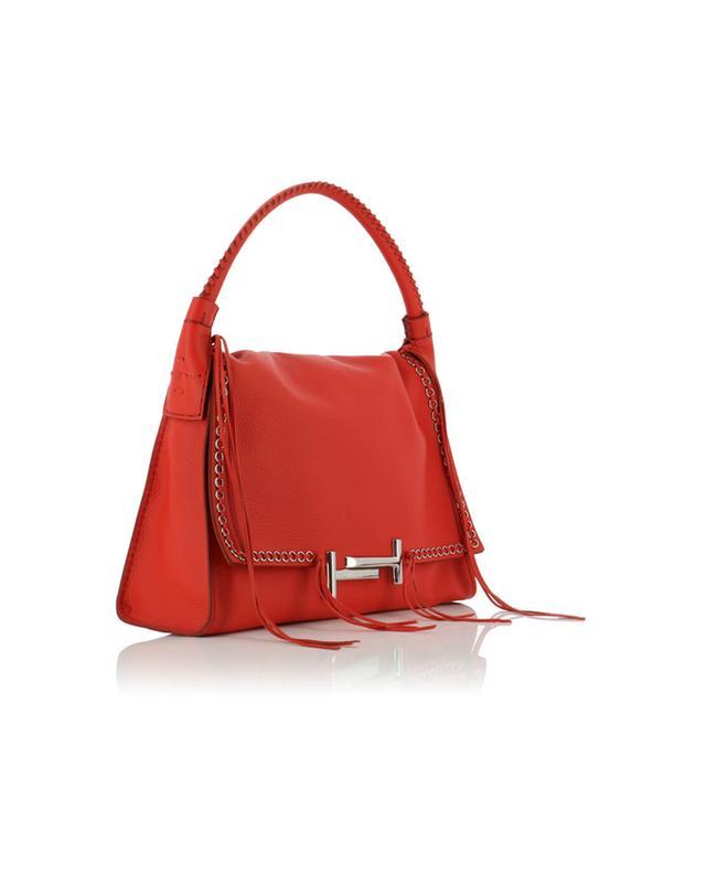 Tod's handtasche aus genarbtem leder double t rot a40596