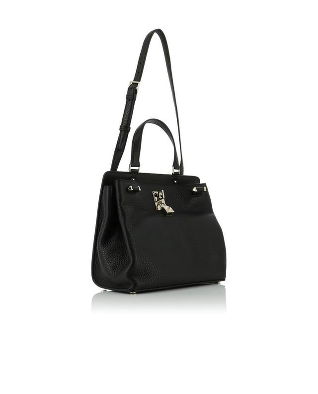 Valentino handtasche aus genarbtem leder joylock schwarz